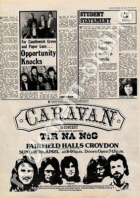 Caravan Tir Na Nog Fairfield Halls, Croydon MM4 show Advert 1974