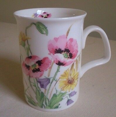 "ROY-KIRKHAM FINE BONE-CHINA ""ENGLISH MEADOW"" POPPIES 4.25"" H 12oz TEA COFFEE MUG"