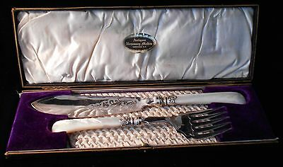 ANTIQUE SILVER PLATE FISH SERVING SET FORK & KNIFE cw MOTHER OF PEARL HANDLES