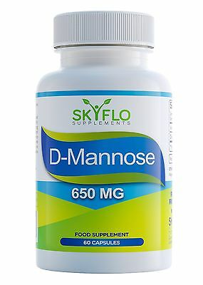 D-Mannose - Fights UTIs Cystitis & Supports Bladder Health (650mg, 60 Capsules)