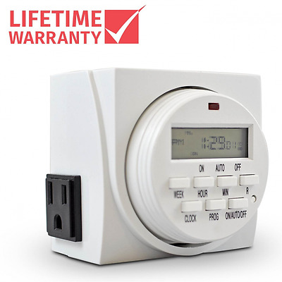 Comforday 7-Day Programmable Digital Timer with Two Grounded Outlets plus 8 Inde