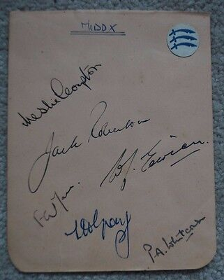 6 Middlesex Cricketers Autographs circa early 1950s