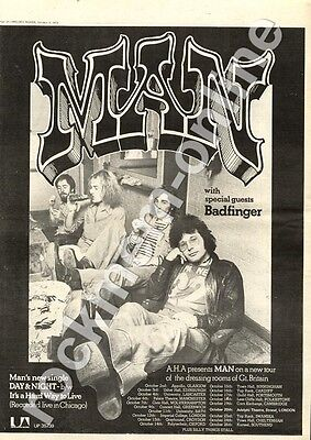Man Day & Night Badfinger Top Rank, Cardiff MM4 '45/Tour Advert 1974