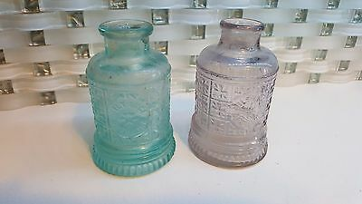 2- Antique 19th C Blue & Purple Gilt Edge Dressing Bottles 1 Dated May 10 1890