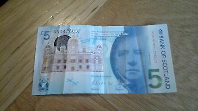 New £5 Polymer Bank Of Scotland Note Very Rare Aa447005