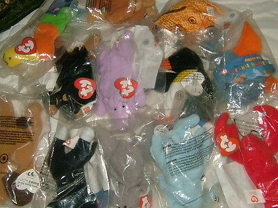 McDonalds TY Teenie Beanie Babies, Complete Set 1-12 Unopened Happy Meal Toys