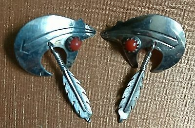 NAVAJO Sterling Silver Bear Feather  SIGNED Coral Earrings NATIVE AMERICAN