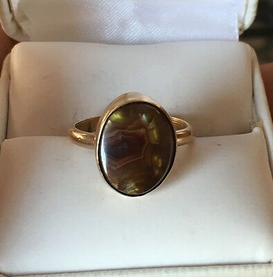 Beautiful Antique 14k Yellow Gold Ring With Brown Stone 4.4 Grams