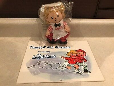 VINTAGE CAMPBELL SOUP KIDS COLLECTABLES 1980 CALANDER and 1999 BEAN BAG DOLL