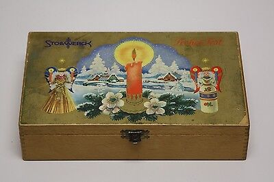 Vintage STOLLWERCK WOOD Cigar Sz. Box Frohes Fest FINGER Joined Christmas ANGEL