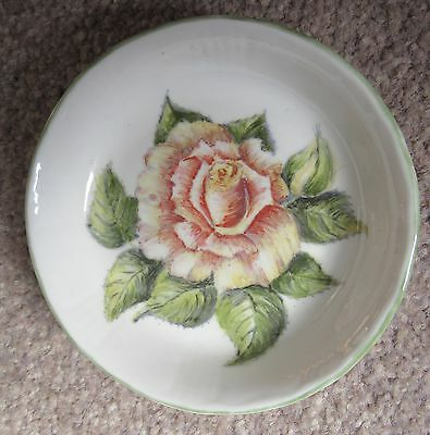 Hand painted by AUDREY MABBETT :  Rose Flower : Small Decorative Dish