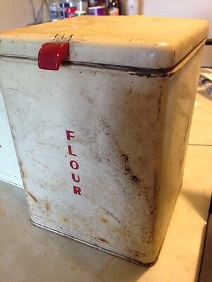 Vintage 1930s Kreamer Tin Flour Canister With Red Bakelite Handle Kitchen