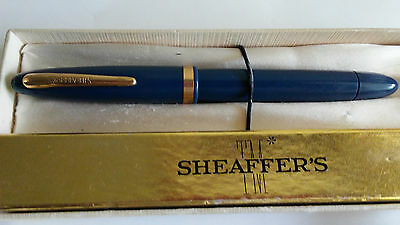 Vintage Shaeffer Fountain Pen -Vacuum Fill - Blue W/gold In Box