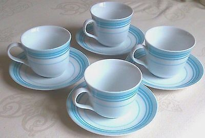 "4 Royal Doulton ""blue Ripples Fine Porcelain Tea Set Cups + Saucers Excellent"