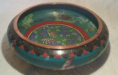 Antique Chinese Cloisonne Bowl/ Pot Stand With Ming Mark On Base