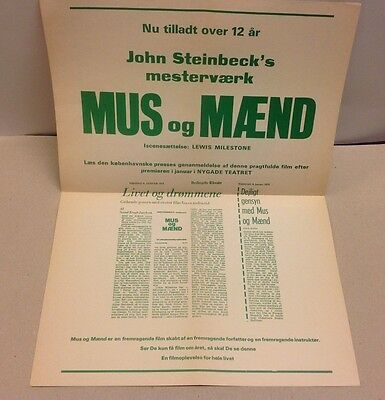 """Of Mice and Men"" Burgess Meredith Lon Chaney Vtg 1939 Danish Press Release Kit"