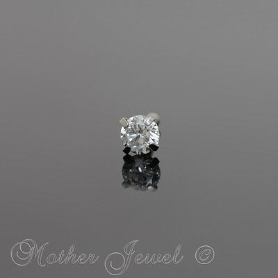 18G Silver Surgical Steel 3Mm Round Simulated Diamond Nose Mens Womens Stud Bone
