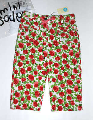 NWT Mini Boden Roses Printed Baggies Cropped Trousers Girl's Red Floral Pants 8Y