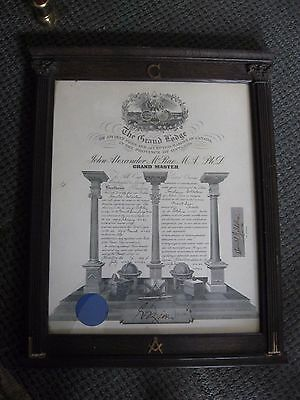 1942 Canada Ontario Freemason Grand Lodge Grand Master Certificate with frame