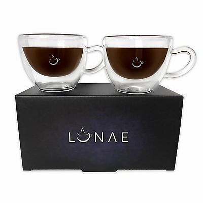 Espresso Glass Cups, Double Walled Coffee Shot Glasses, Set of 2 x 80ml by Lunae