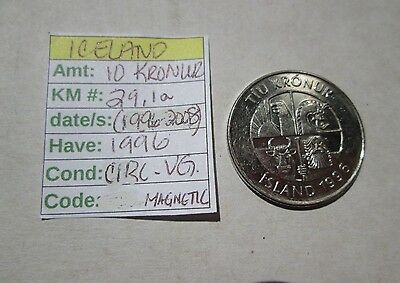 Single coin from ICELAND,1996, 10  kronur, Km 29.1a (1996-2008) circ-very good