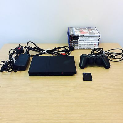 Playstation 2 PS2 Black Slim Console, Controller, Leads, Memory Card & Games