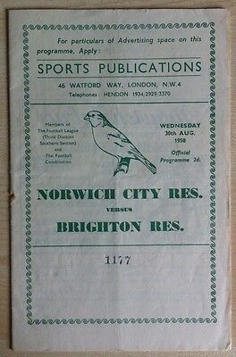 Norwich City Reserves v Brighton Reserves - 30th August 1950