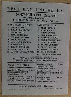 West Ham United Reserves v Norwich City Reserves - 20th March 1979