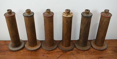 A Collection Of Six Large Solid Wood Industrial Cotton Reels / Bobbins