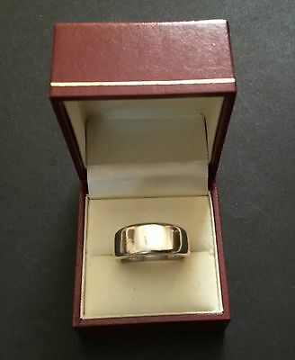 VINTAGE MODERNIST HEAVY STERLING 925 SILVER BAND RING -  12 GRAMS RING 1980's