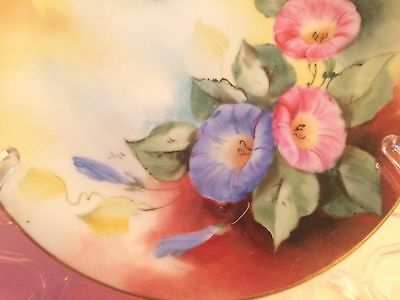 Antique Porcelain Plate, Signed Bavaria Marked Hand painted Flowers