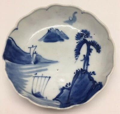 """Antique Blue And White Japanese Porcelain Dish 6"""""""
