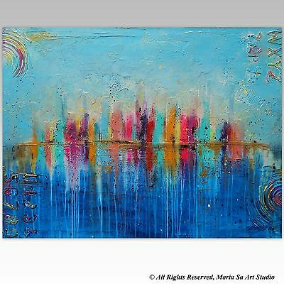 Colourful City Painting, Large Cityscape Wall Art, 40x30 Original Modern Art