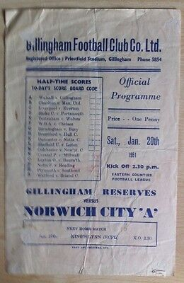 Gillingham Reserves v Norwich City 'A' - Eastern Counties League - 20th Jan 1951