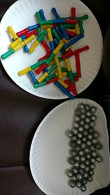 GEO MAG MIXED MAGNETIC 146 PIECES MAGNETS AND BALL BEARINGS Big Lot rainbow EUC