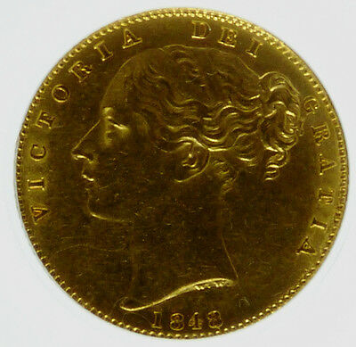 1848 GVF Queen Victoria Sovereign CGS 50 ( ~AU55)