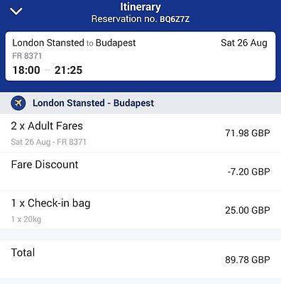 2 x Flight Tickets, London Stansted To Budapest, 26/09/2017 with 20kg Luggage