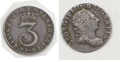 1772 George lll silver 3 pence in very fine condition