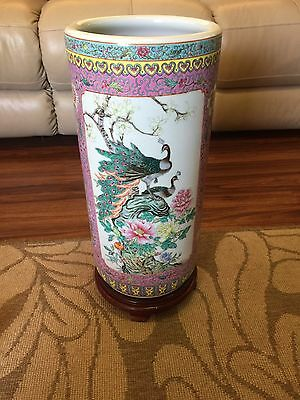 CHINESE porcelain VASE 2nd half 20th c. Famille Rose PEACOCK AND BIRDS 18""