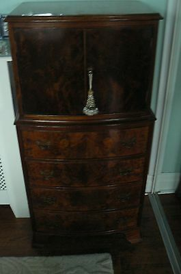 4 draw bow fronted  walnut vintage tall cupboard drinks cabinet