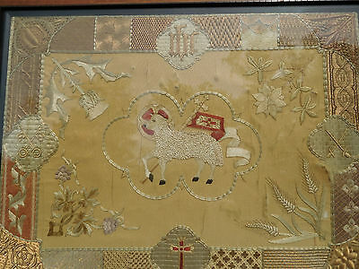Antique Pennsylvania Folk Art~Lamb Of God~Hand Stitched Silk Needlework Sampler