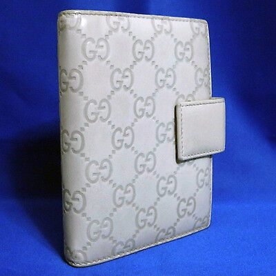 Authentic Gucci Guccisscima Light Gray Leather Agenda Cover Vintage Italy 115240
