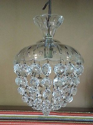 Vintage Petite Crystal & Glass Chandelier From France