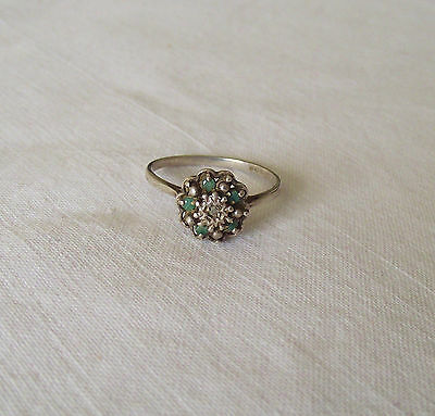 Beautiful Vintage Silver Ring with Tiny Diamond & Green Stones UK P - Q US 8