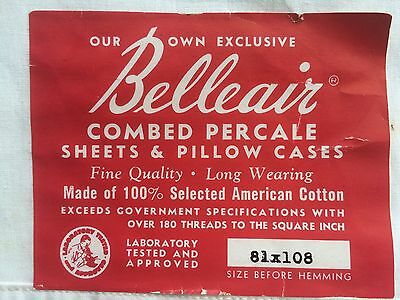 "fine percale cotton sheet 81"" vintage NWT NU GREAT GRAPHICS BELLEAIR DEAD STOCK"