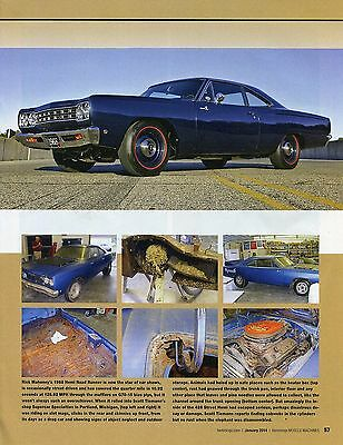 1968 PLYMOUTH ROAD RUNNER HEMI RESTORATION 6 page COLOR Article