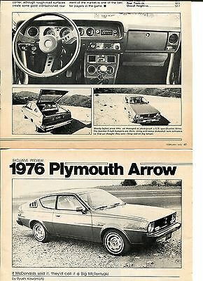 1976 PLYMOUTH ARROW GT 5 PG Article