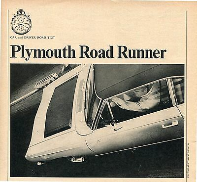 1968 Plymouth Road Runner Coupe 4 Pg Road Test Article