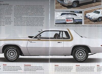 1975 PLYMOUTH ROAD RUNNER BUYERS GUIDE  5 pg Color Article
