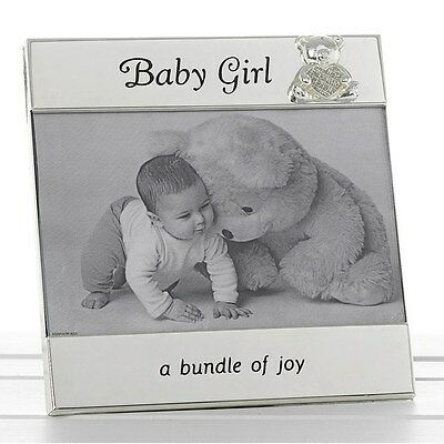 "Gift Baby GIRL Message Photo Frame 6""x4"" Teddy Diamante Luxurious Gift"